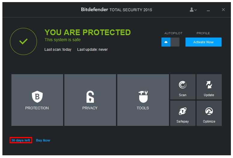Install Bitdefender Total Security 2015